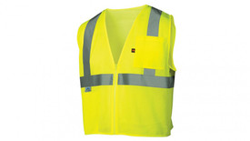 Pyramex Class 2 Flame Retardant Hi-Viz Mesh Safety Vest - Front view of Lime Hi Viz Vest with reflective tape around waist and up over both shoulders