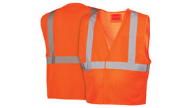 Pyramex Class 2 Mesh Breakaway Hi-Vis Safety Vest - Front and Back View of Hi-Viz Orange Safety Mesh Vest with breakaway front closure and silver reflective tape applied horizontally around the upper waist of vest and Two silver reflective tape applied vertically from horizontal tap up and over shoulders to the stripe on the back side of vest and one pocket on the left chest