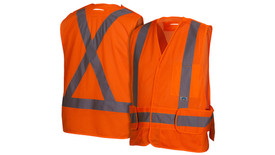 Pyramex Class 2 Breakaway X on Back Hi-Vis Safety Vest - Front View of Hi-Viz Orange Safety Mesh Vest with Hook & Loop front closure and silver  reflective tape applied horizontally around waist of vest and Two silver reflective tape applied vertically from horizontal tape going up to shoulders and 1 chest pockets on the left side and 2 pieces of material that can be pulled away from waist on the left and right side and Back View of Hi-Viz orange Safety Mesh Vest Back and silver reflective tape applied horizontally around waist of vest and Two silver reflective tape applied vertically crossing over each other as an X starting at horizontal tape and going up to the shoulders.