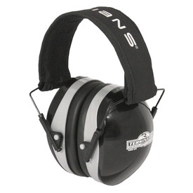 """Radians Terminator 29 NRR 29 EarMuff Protector - black and silver earmuffs with black cushion and black headband with """"RADIANS"""" text on it."""