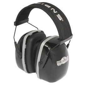 Radians Eliminator 30 NRR 30 Padded Ear Muff Protector - black earmuffs with soft foam black cushion with a black padded headband.