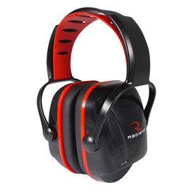 Radians Small Adjustable EarMuff Protectors NRR 22 - Red and black stylish over head ear muffs with adjustable headband