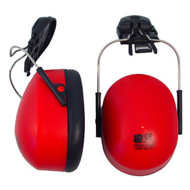 Radians Hard Hat Cap Mount Soft Foam EarMuff - Side and top view of red and black ear muff cover replacements