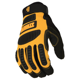 DeWalt Performance Mechanic PVC Palm Glove - Black and yellow safety work gloves with size adjustable wrist and padded outer hand