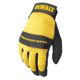 DeWalt Padded All Purpose Utility Performance Glove - Yellow and black heavy padded safety work gloves with adjustable wrist