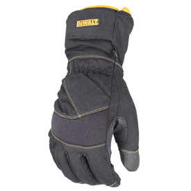 DeWalt Extreme Cold Weather Fleece Insulated Work Glove - Gray safety work glove with yellow threading and size adjustable wrist