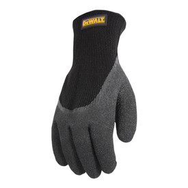 DeWalt 3/4 Foam Latex Dip Thermal Gripper Work Glove - Black and light gray thermal work glove with gray rubber coating and elastic wrist