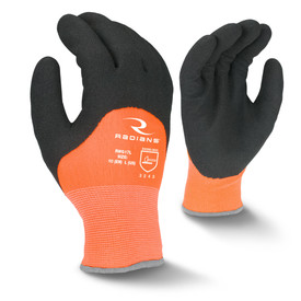Radians Cold Weather Latex Coated Work Glove - view of Radians black and orange work glove with elastic wrist. Back view of Radians black and orange work glove.