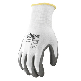 Radians ANSI A2 Cut Level 3 Polyurethane Palm Dip Glove - White elastic safety work glove with gray rubber coating and yellow hemming