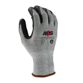 Radians ANSI A2 Level 3 Nitrile Dipped Glove - speckled light and dark grey elastic work glove with black coating around fingertips and brown hemming.