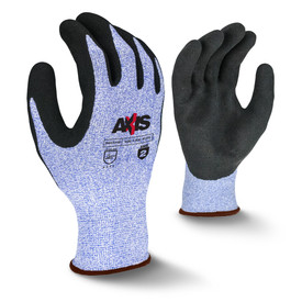 Radians ANSI A2 Level 3 Latex Palm Coating Glove - view of Radians speckled light blue elastic work glove with black coating around the fingertips and brown hemming. Back view of Radians speckled light blue elastic work glove with black coating and brown hemming.