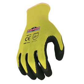 Radians Hi-Viz Knit Micro Foam Dipped Latex Glove - High visibility yellow and black coated safety work gloves with yellow hemming