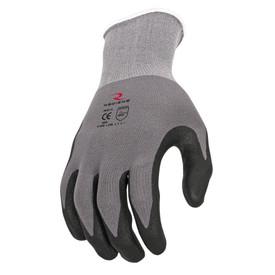 Radians Micro Foam Nitrile Palm Dipped Anti-Slip Glove - Dark gray and black coated safety work glove with elastic fit wrist