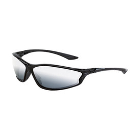 KP6 CrossFire Premium Safety Glasses - CrossFire - Full black thin frame safety glasses with silver mirrored lenses and rubber nose pad