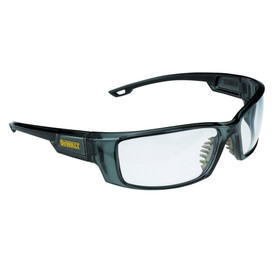 DeWalt Self-Adjusting Anti-Fog Excavator Safety Glasses - metallic green frame safety glasses square shaped with rubber nose piece and clear lenses.