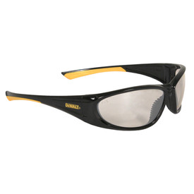 DeWalt black and yellow frame safety glasses with light yellow lenses and rubber nose piece.
