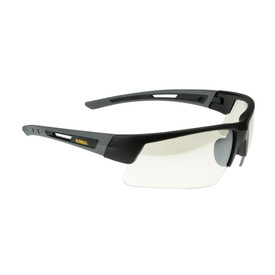 DeWalt Dual Injected Rubber Temples Crosscut Safety Glasses - Gray and black half frame safety work glasses with gray lenses