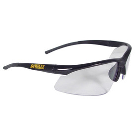 DeWalt Rubber Tipped Temples Radius Safety Glasses - Black half frame safety work glasses with clear lenses and rubber temples