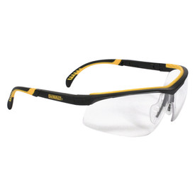 DeWalt DC Dual Injected Rubber Temples Safety Glasses - Black and yellow half frame safety work glasses with clear lenses and rubber temples
