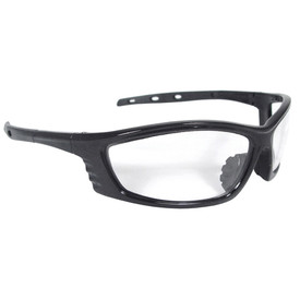 Radians Chaos - Rubber Nosepiece & Non-Slip Safety Glasses - Black full frame safety work glasses with rubber temples, clear lenses, and rubber nosepiece