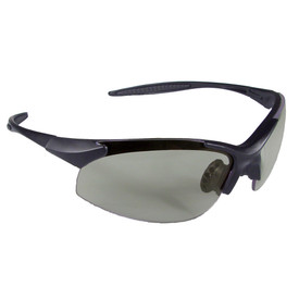 Radians Rad Infinity Rubber Temples Safety Glasses - black and grey half frame safety glasses with light grey lenses and rubber temples.