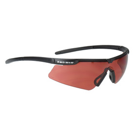 Radians T-72 - Sporty Non-Slip Safety Glasses - black half frame sporty safety glasses with red lenses and black nosepiece.