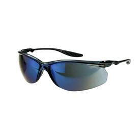 CrossFire black half frame lightweight safety glasses with blue mirror  lenses.