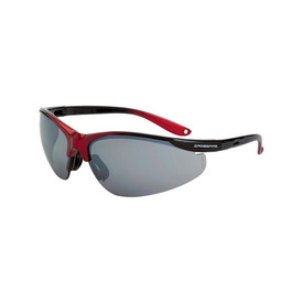 CrossFire Brigade Vented Rubber Nose Safety Glasses - CrossFire - Black and red half frame safety glasses with silver mirrored lenses and rubber temples