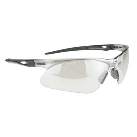 DeWalt Recip - Ratcheting Temples Safety Glasses - black and white half frame safety work glasses with white lenses, rubber temples and grey nosepiece.