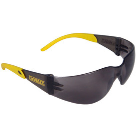 DeWalt Protector - Lightweight Ergonomic Safety Glasses - black frameless safety glasses with black lenses, yellow rubber temples and peripheral protection.