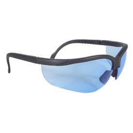 Radians Journey Adjustable Length Safety Glasses - black wrap around safety work glasses with light blue lenses, rubber nose piece and adjustable temples.