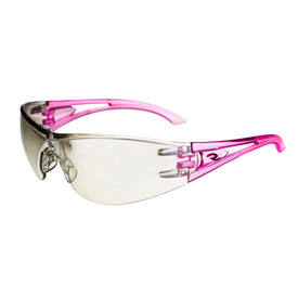 Radians Optima Extra Curved Lens Protection Safety Glasses - pink frameless wrap around safety work glasses with light brown curve lenses and light brown nose pad.