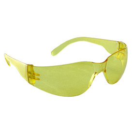 Radians yellow frameless wrap around safety glasses with yellow lenses and temples