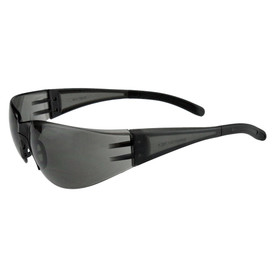 Radians Illusion Extended Brow Guard Safety Glasses - smoke frameless brow guard safety glasses with smoke lenses and black temples.