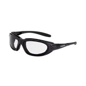 CrossFire Journey Detachable Temples Safety Glasses - CrossFire - Dark black full frame foam padded safety glasses with clear lenses and detachable temples