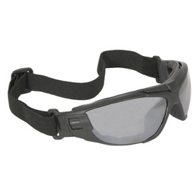 Radians Cuatro 4 in 1 Adjustable Safety Glasses - grey full frame safety glasses with smoke lenses and black convertible strap.