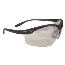 Radians Cheaters Adjustable Reader Safety Glasses - Solid black half frame safety glasses with a peach color indoor outdoor lens and plastic nose piece