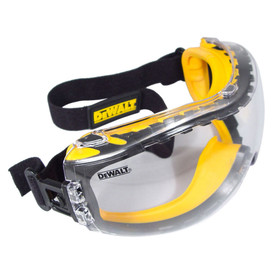 DeWalt Concealer Dual Injected Rubber Safety Goggles - Gray and black full frame wide view safety goggles with clear lens and black clip on strap