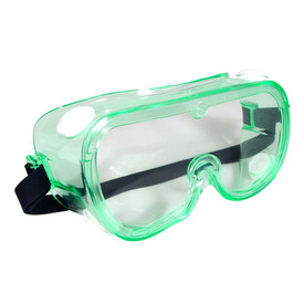 Radians Chemical Splash Safety Goggles - Clear green tinted safety chemical splash goggles with wide view and behind head strap