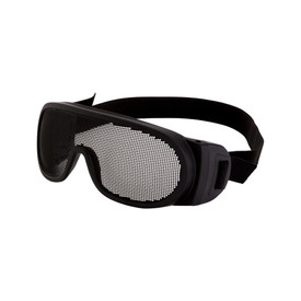 CrossFire Wire Mesh OTG Safety Glasses - CrossFire - Black full frame safety goggles with black wire mesh lens piece and black stretchable strap