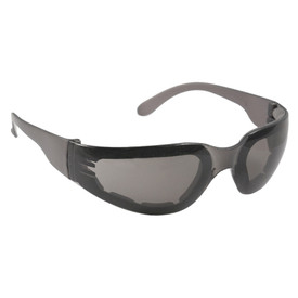 Radians Mirage Foam Small Vented Safety Glasses - black frame safety glasses with smoke lenses and grey temple.