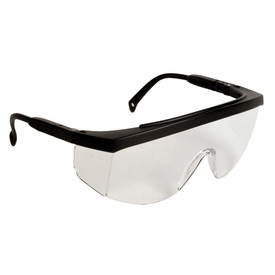 Radians G4 JR One Piece Lens Safety Glasses - black frame wrap around safety glasses with clear lenses and black temple.