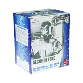 Alcohol Free Respirator Wipes Box of 100 - Made in USA - Radians blue and gray box of 1 Respirator wipes.