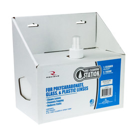 Mid-Size Lens Cleaning Station Made in USA - Radians blue and white box with lens cleaning station spray bottle and tissue.
