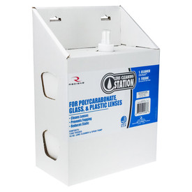 Large Lens Cleaning Station Made in USA - Radians Disposable lens cleaning station box with spray solution and Towelettes dispenser