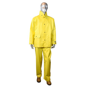 Radians DriDad 28 PVC Yellow Rain Jacket Bib Coverall & Hood - mannequin wearing Radians yellow rainwear long sleeve jacket with collar, two side pockets and black buttons for closure. Radians yellow rainwear pants and brown shoes.