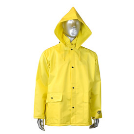 Radians DriDad 28 PVC Yellow Rain Jacket - mannequin wearing Radians yellow rainwear long sleeve jacket with detachable hood, two side pockets and black buttons for closure.