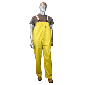 Radians DriDad 28 PVC Yellow Rain Bib Overall - mannequin wearing brown tee shirt over Radians yellow rainwear bib overall with white strap and brown shoes.
