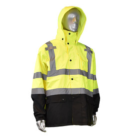 Radians Class 3 Hi-Viz Detachable Hood Vented Rain Jacket - High visibility yellow and black rain jacket with reflective strips on chest, shoulders, and arms