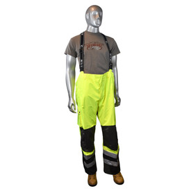 Radians Class 3 Hi-Viz Quick Release Rain Bib Overall - High visibility yellow and black rain overalls with reflective strips on shins and black suspenders